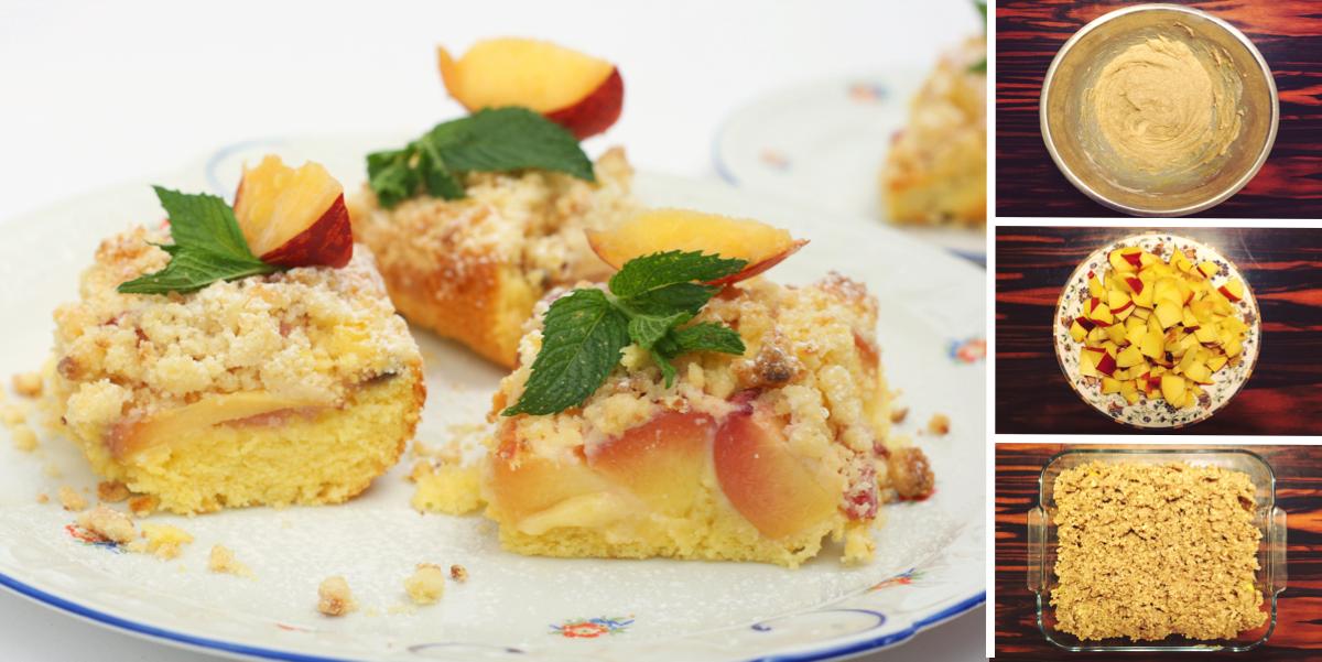 Фото Персиковый пирог с миндальной крошкой: пошаговый фото-рецепт
