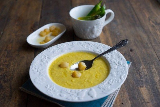Фото Острый кукурузный суп-пюре со сливками