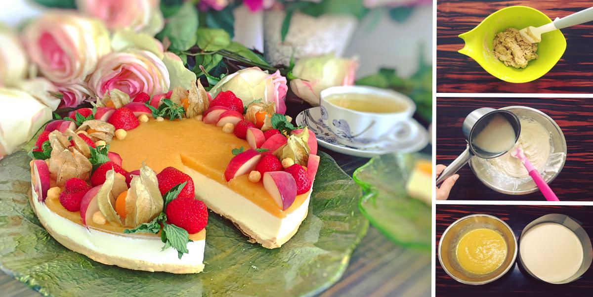 Фото Легкий чизкейк с персиковым желе и фруктами: пошаговый фото-рецепт