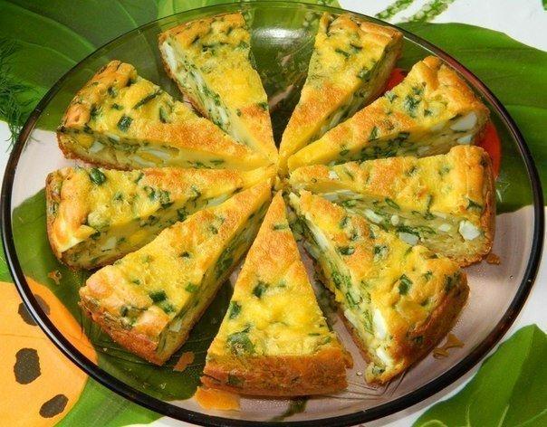 Фото Пирог с яйцами и зеленым луком