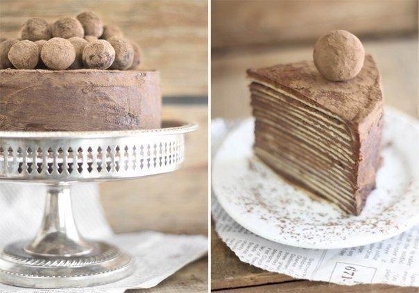 Фото Шоколадный торт из блинов с Амаретто