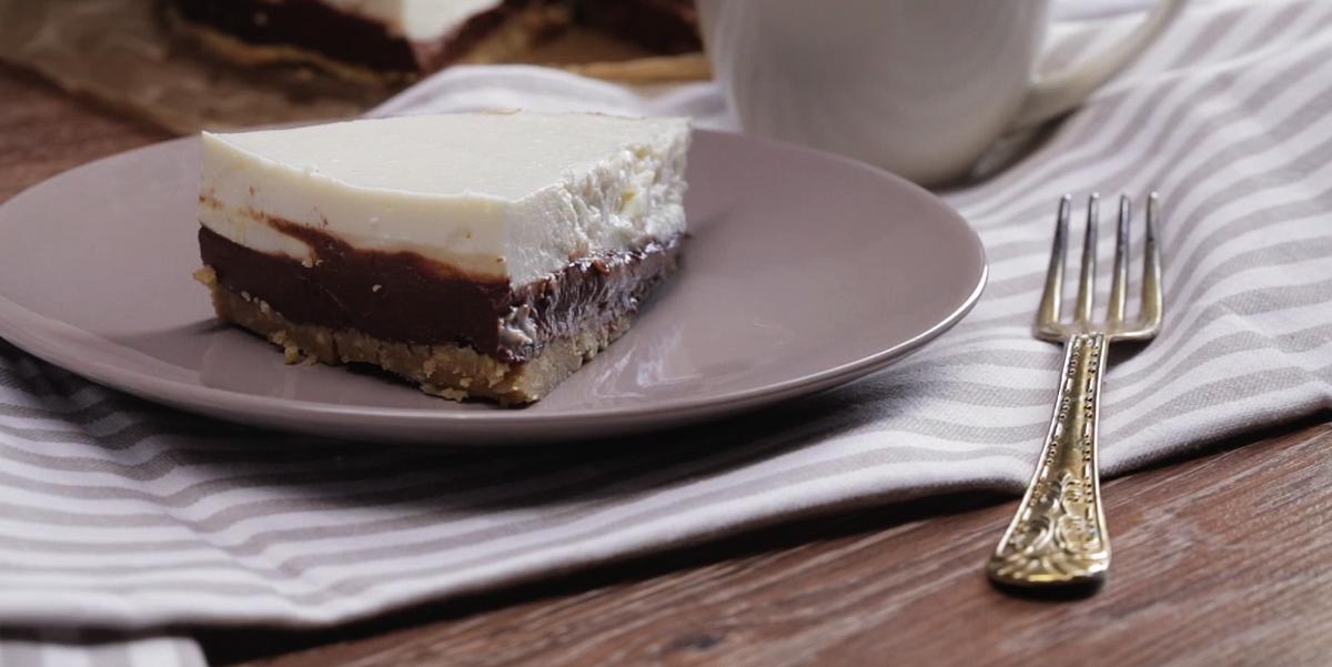 Творожный чизкейк с шоколадной прослойкой без выпечки