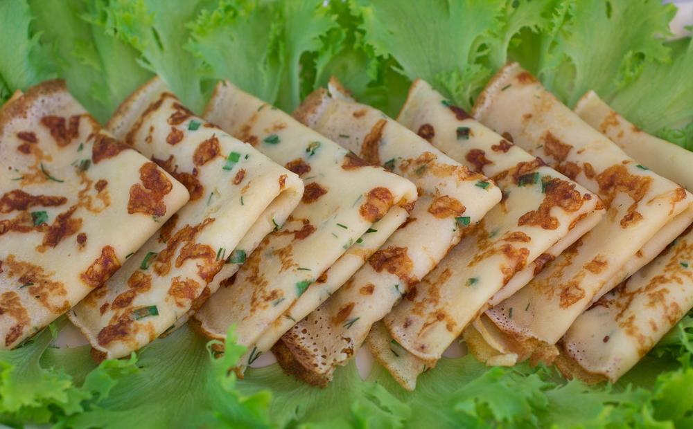 Фото Сырные блины с зеленью