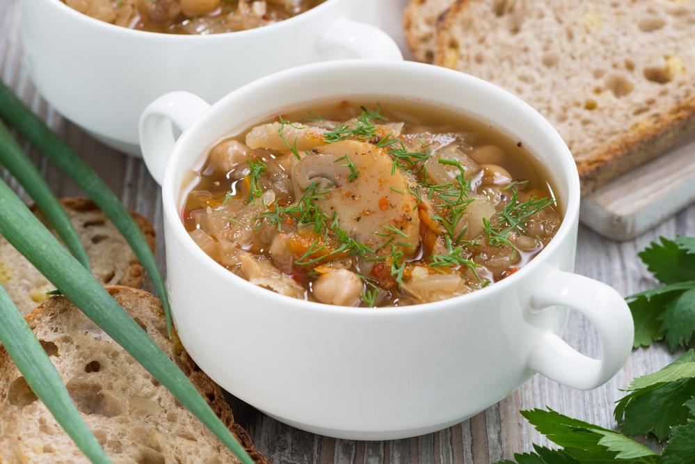 Щи с капустой и грибами