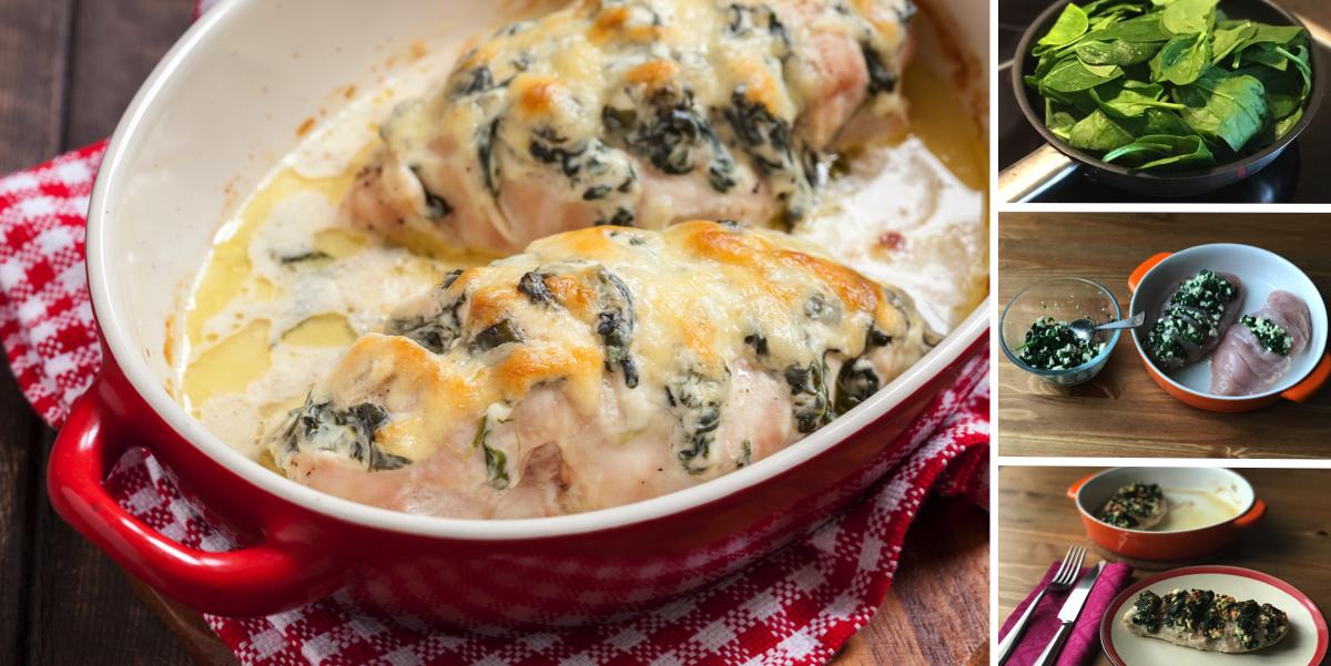 Курица-гармошка с творожным сыром и шпинатом: пошаговый фото рецепт