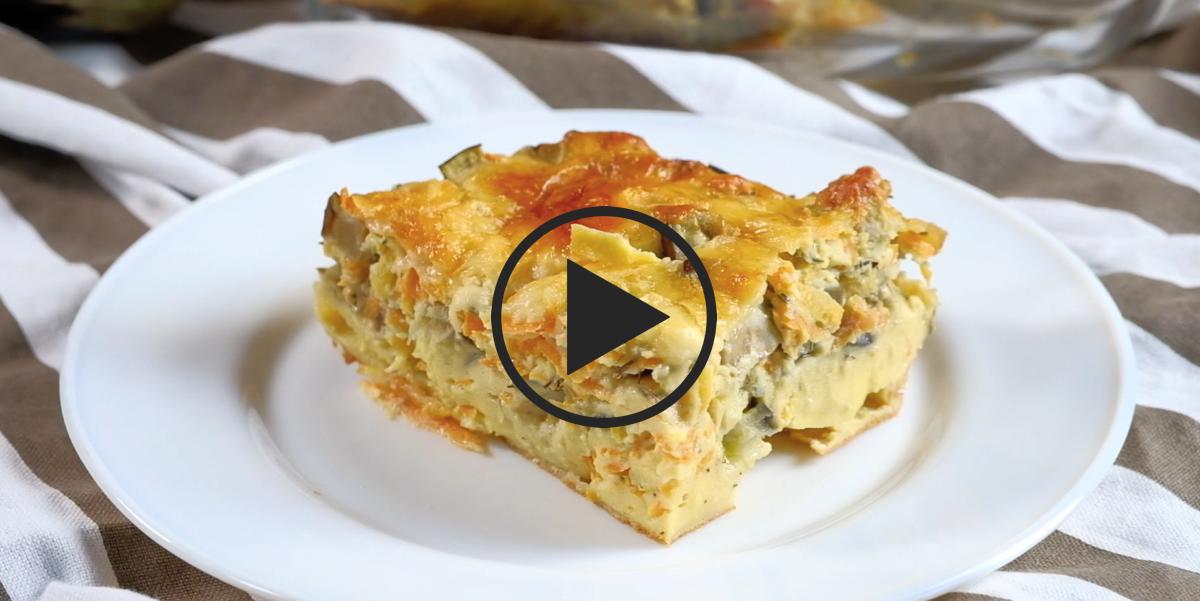 Заливной овощной пирог с баклажанами: видео-рецепт