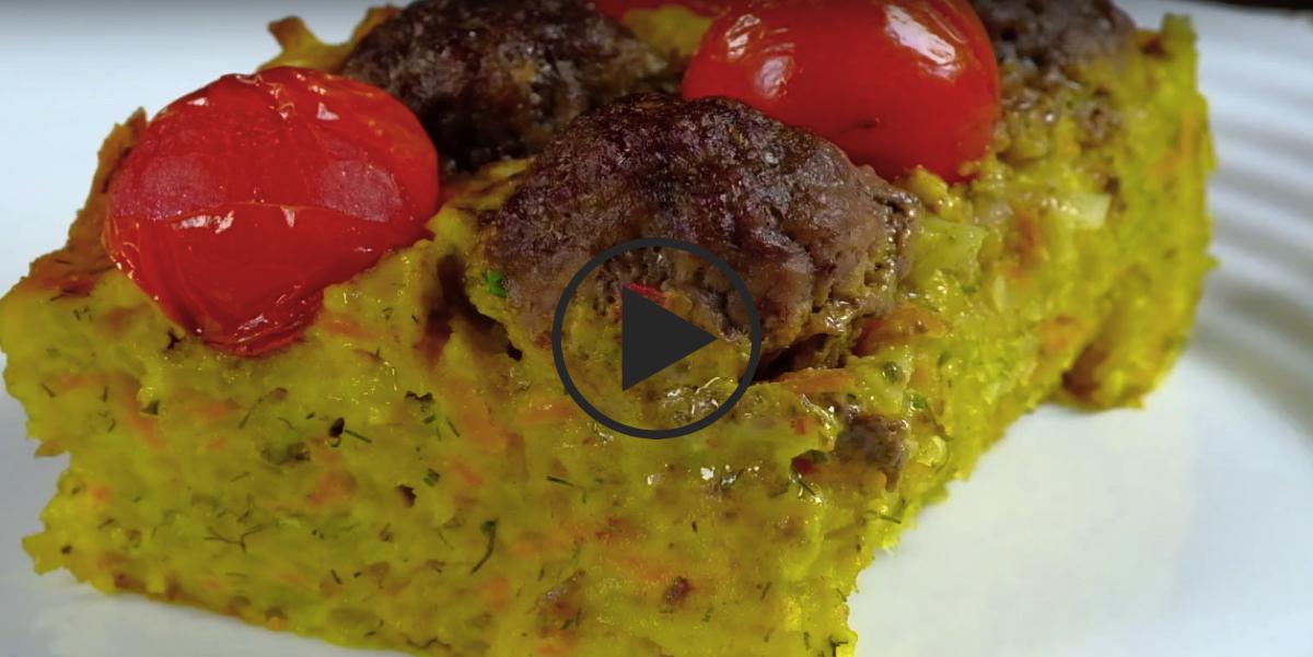 Картофельная запеканка с фрикадельками: видео-рецепт
