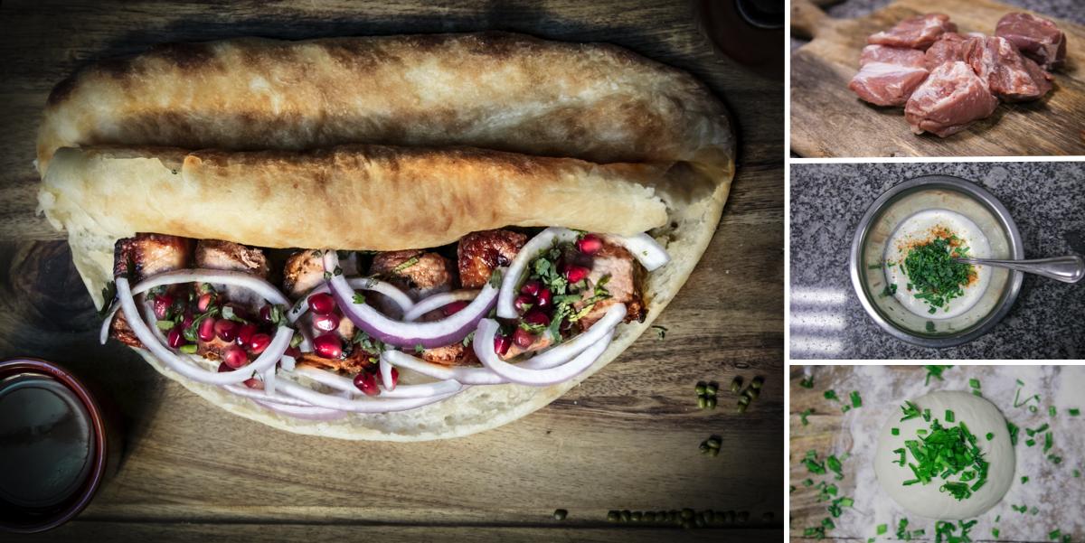 Грузинский Мцвади (Шашлык) с мацони в домашнем хлебе: пошаговый фото-рецепт