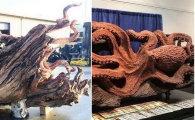 Вокруг света: Скульптор с бензопилой превратил упавшее дерево в гигантского осьминога