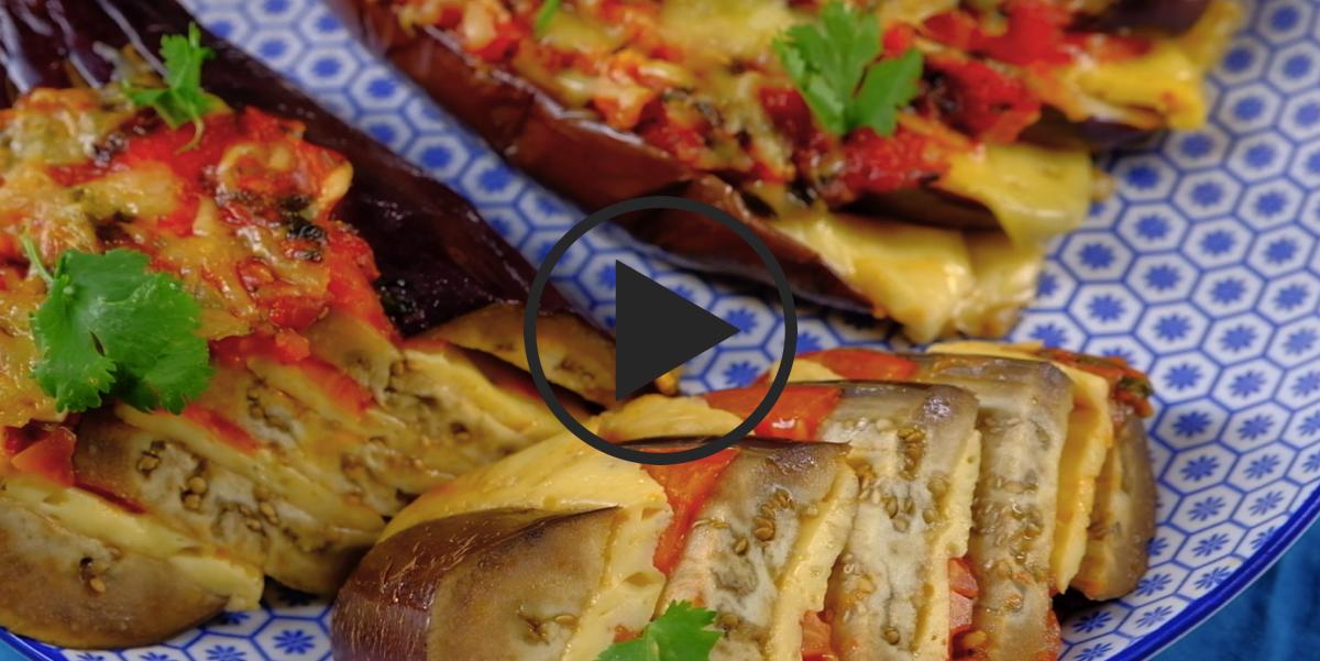Веер из баклажанов: видео-рецепт