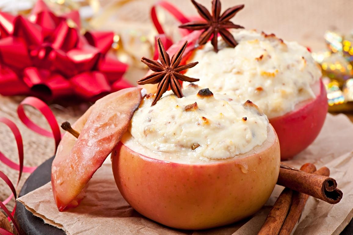 Ароматные печёные яблоки с творогом