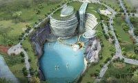 Фото Архитектура: Роскошь посреди развалин: В Китае завершается строительство помпезного отеля в заброшенном карьере