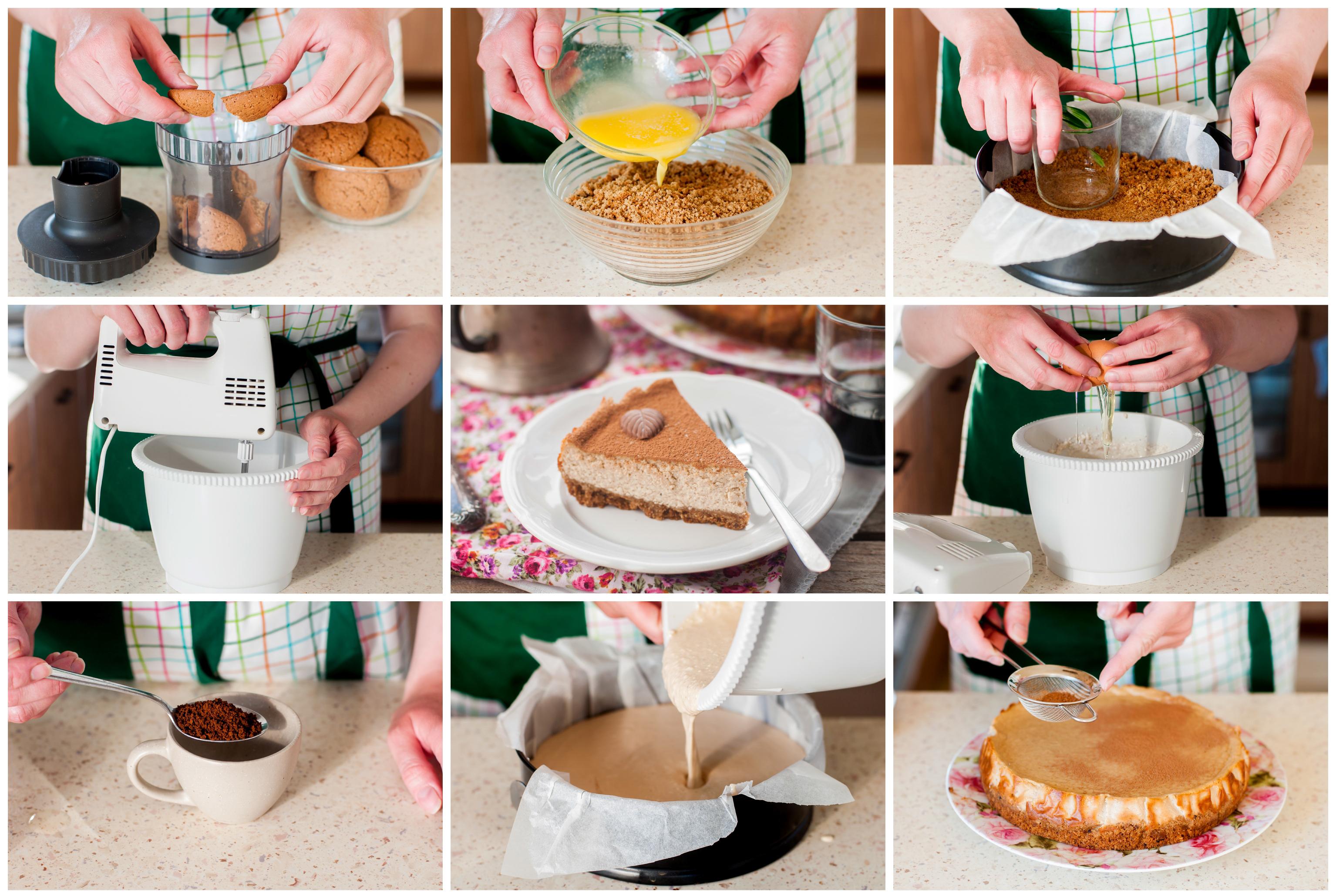 Творожно-кофейный чизкейк с овсяным печеньем