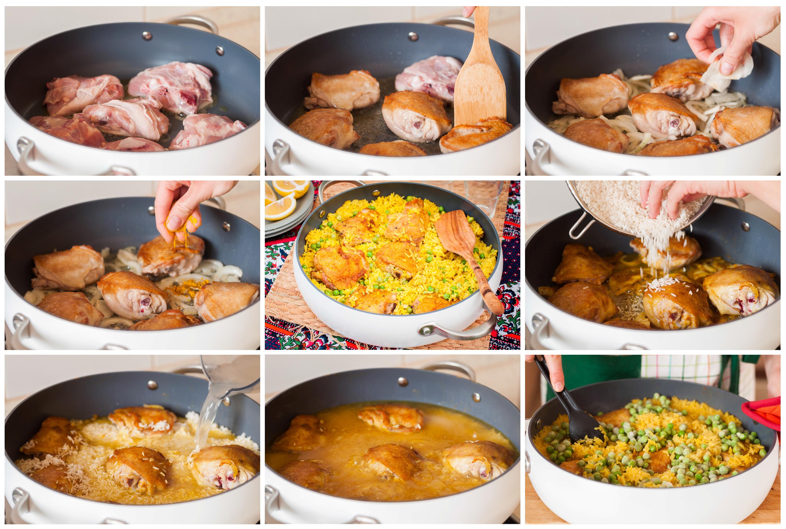 Курица карри с рисом и зелёным горошком