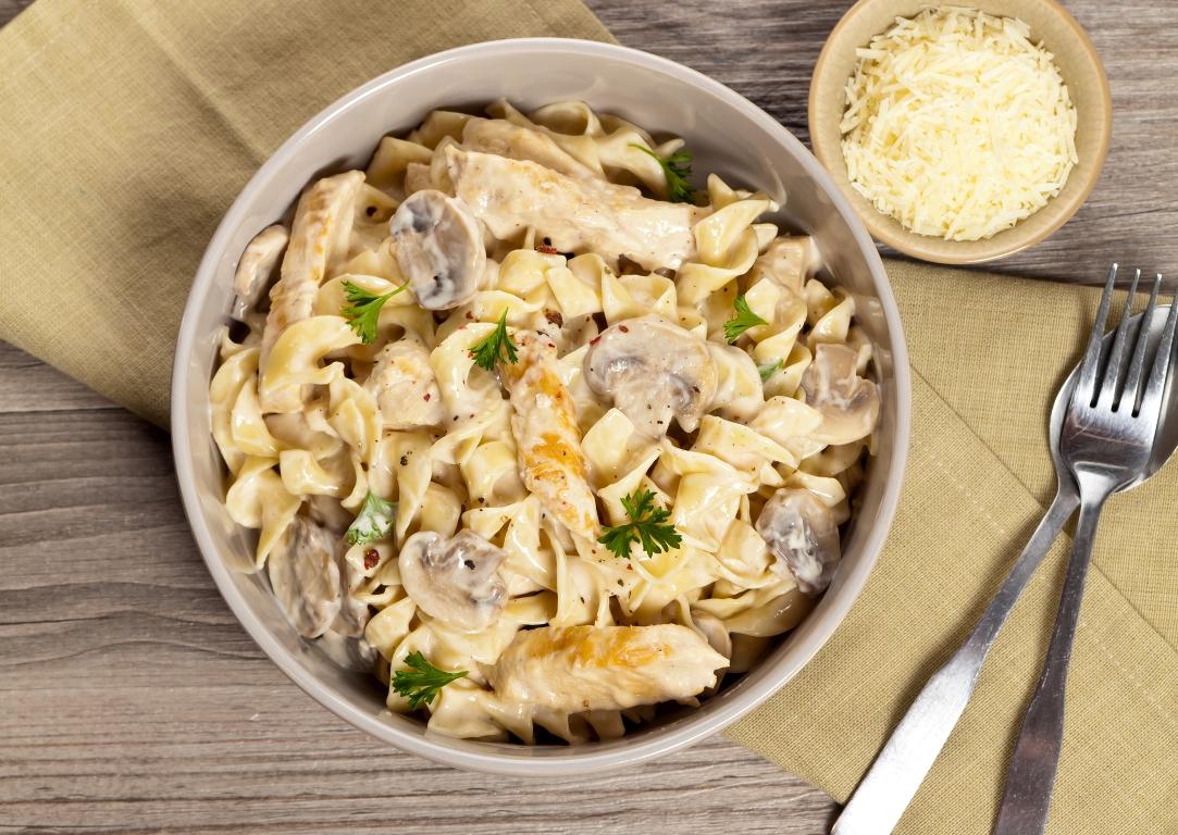 Вкуснейшая паста с грибами и курицей