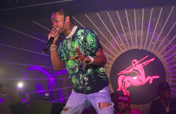 Photo of Travis Scott Performs For All-Star Weekend Crowd That Includes French Montana...and Guy Fieri