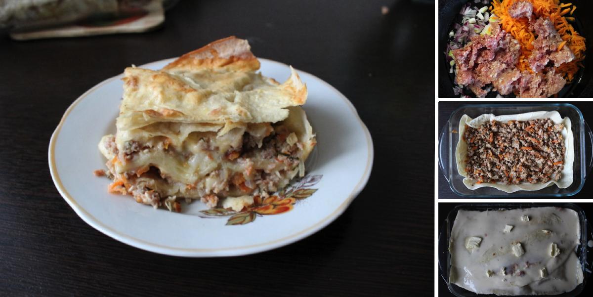 Фото Пошаговый фото-рецепт: Мясной пирог с лавашем