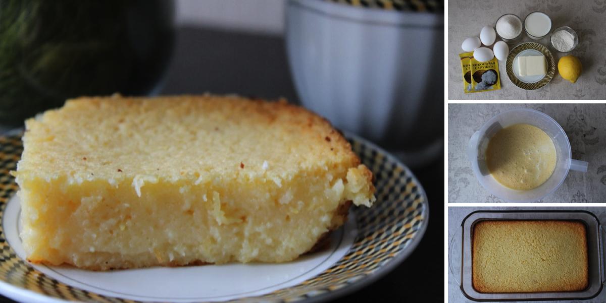 Фото Пошаговый фото-рецепт: Ленивый лимонный пирог