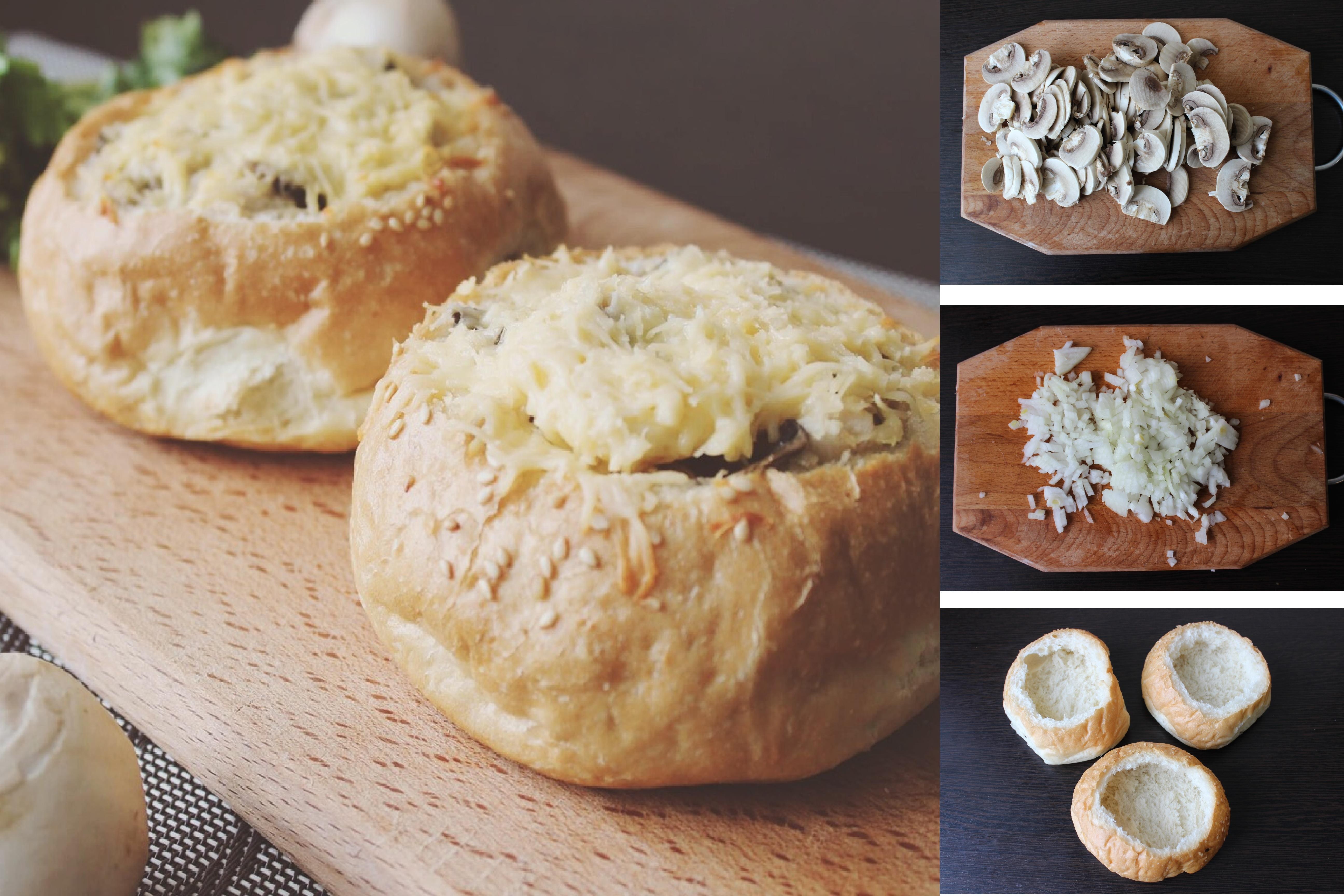 Пошаговый фото-рецепт: Жульен в булочках с курицей и грибами