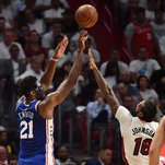 Masked Joel Embiid Leads 76ers to Easy Win Over Heat