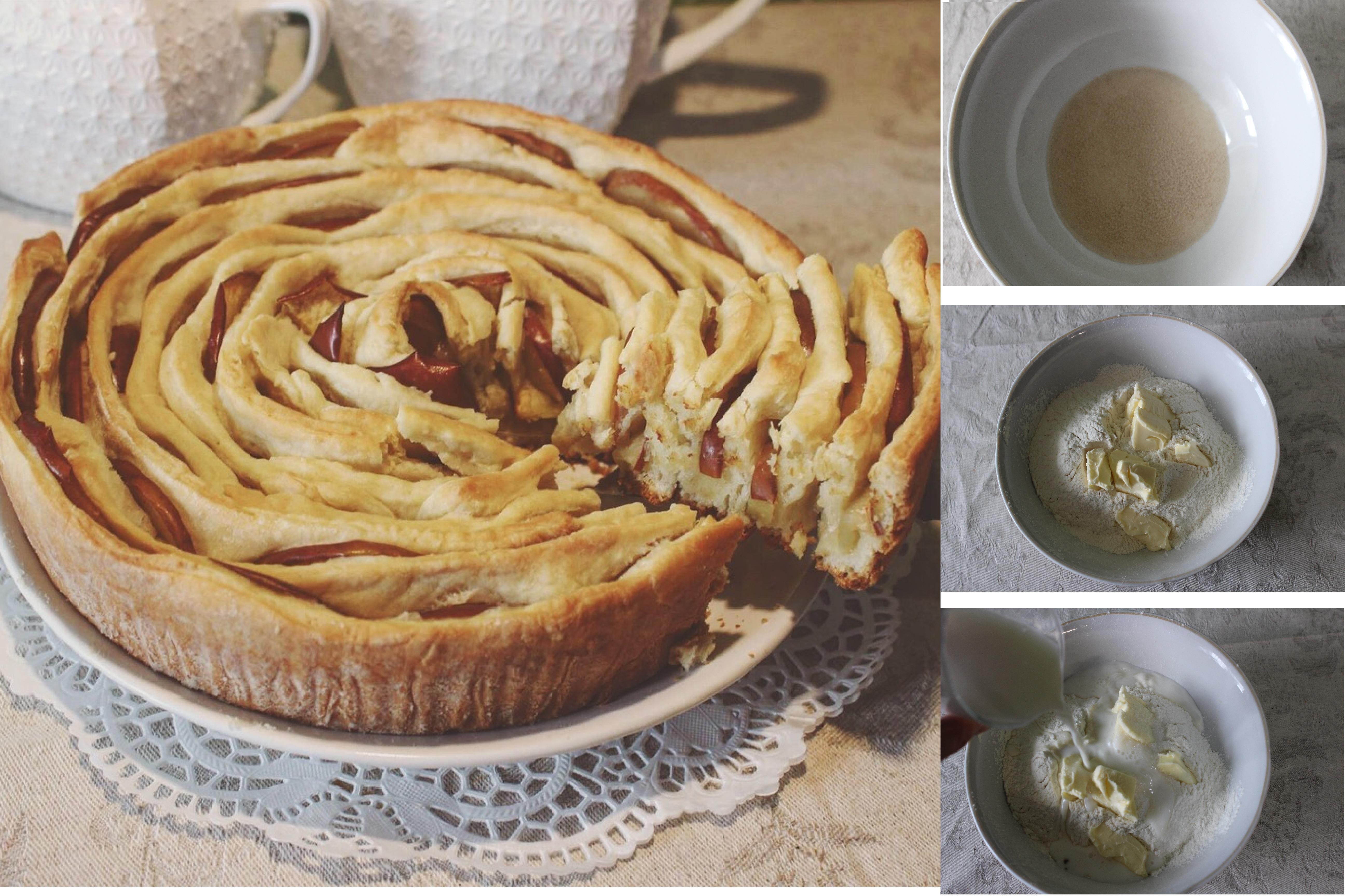 """Яблочный пирог """"Роза"""": пошаговый фото рецепт"""