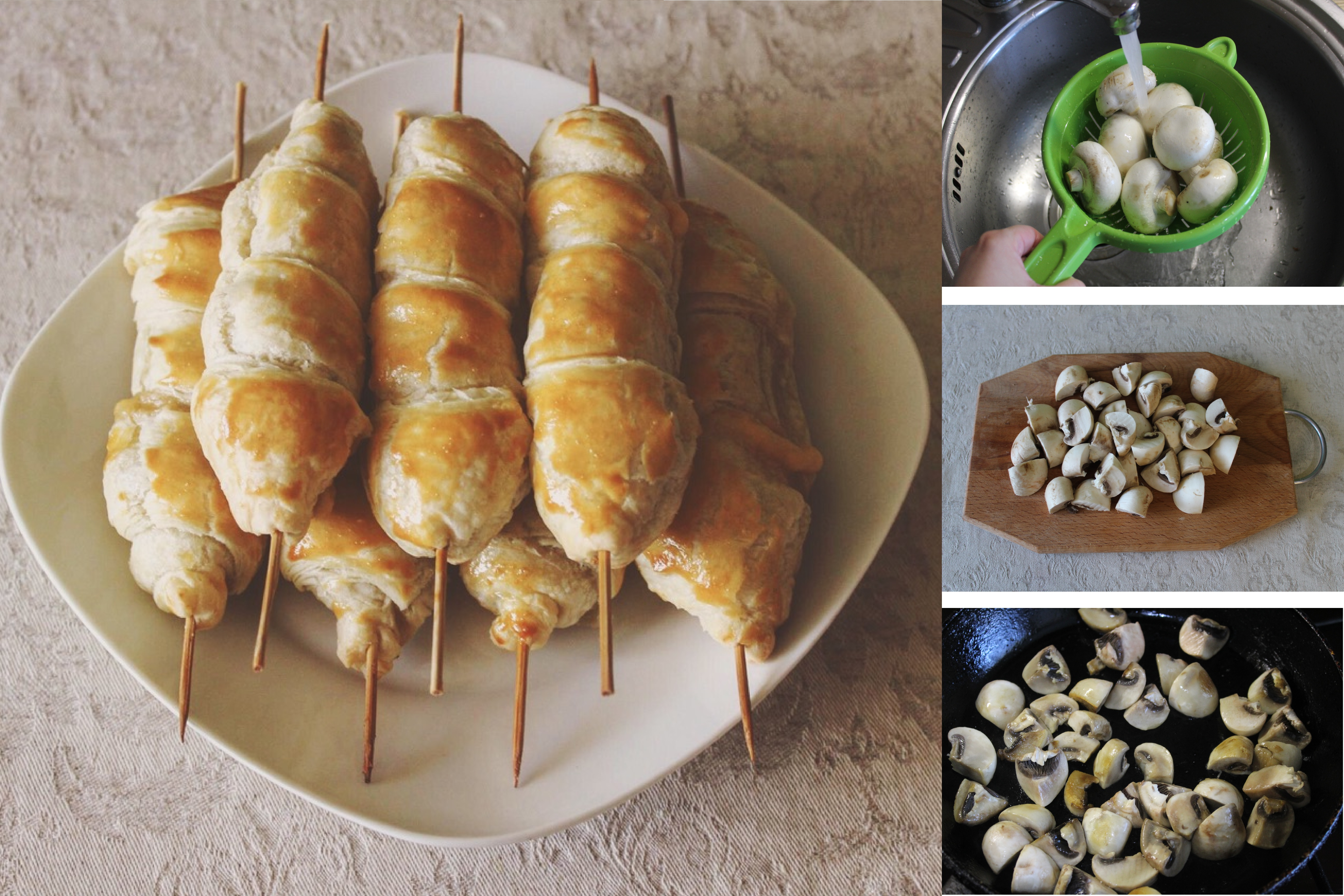 Пошаговый фото-рецепт: Закуска на шпажках с сыром и шампиньонами