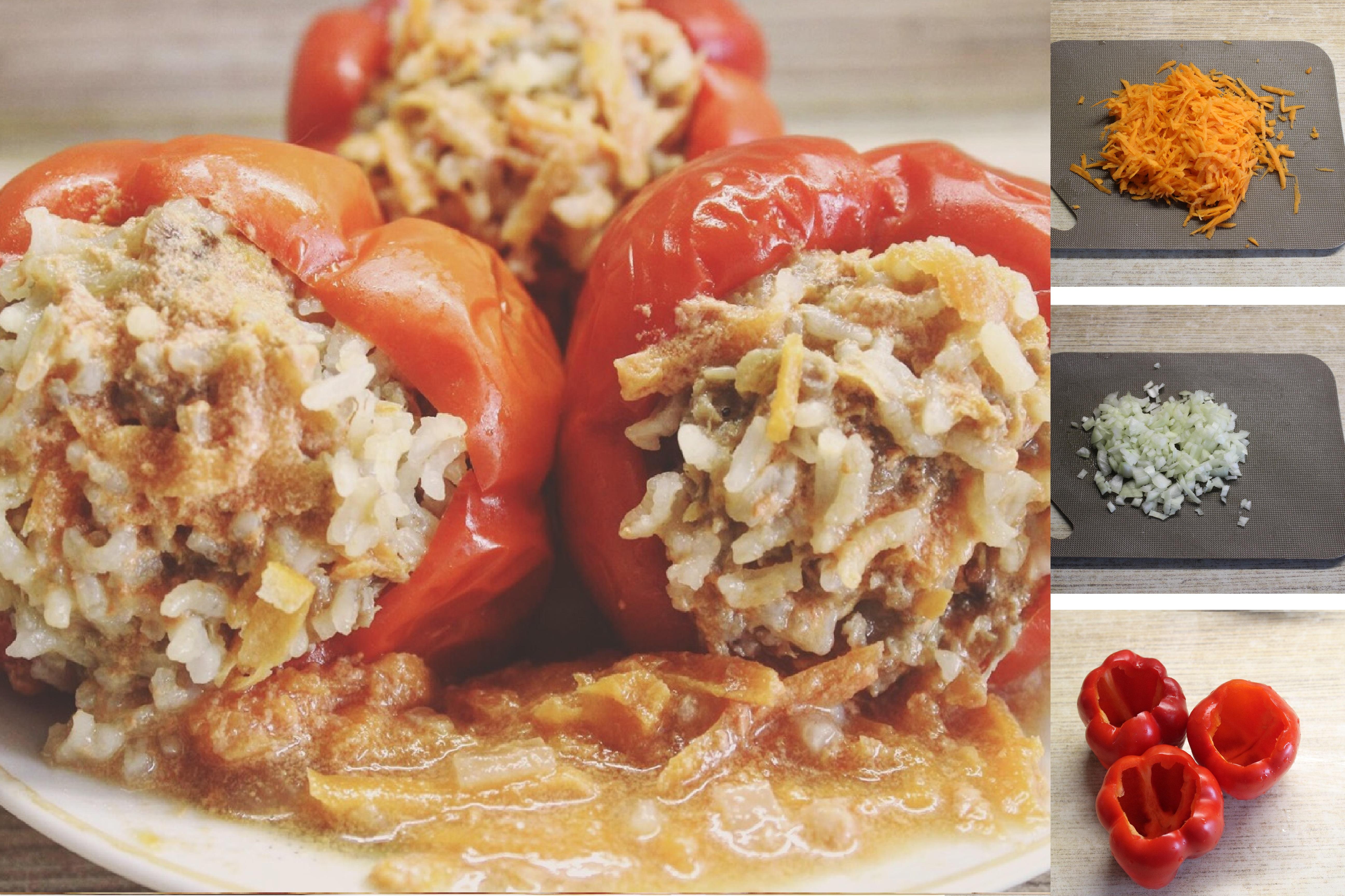 Перцы, фаршированные мясом, в томатно-сметанной соусе: пошаговый фото рецепт