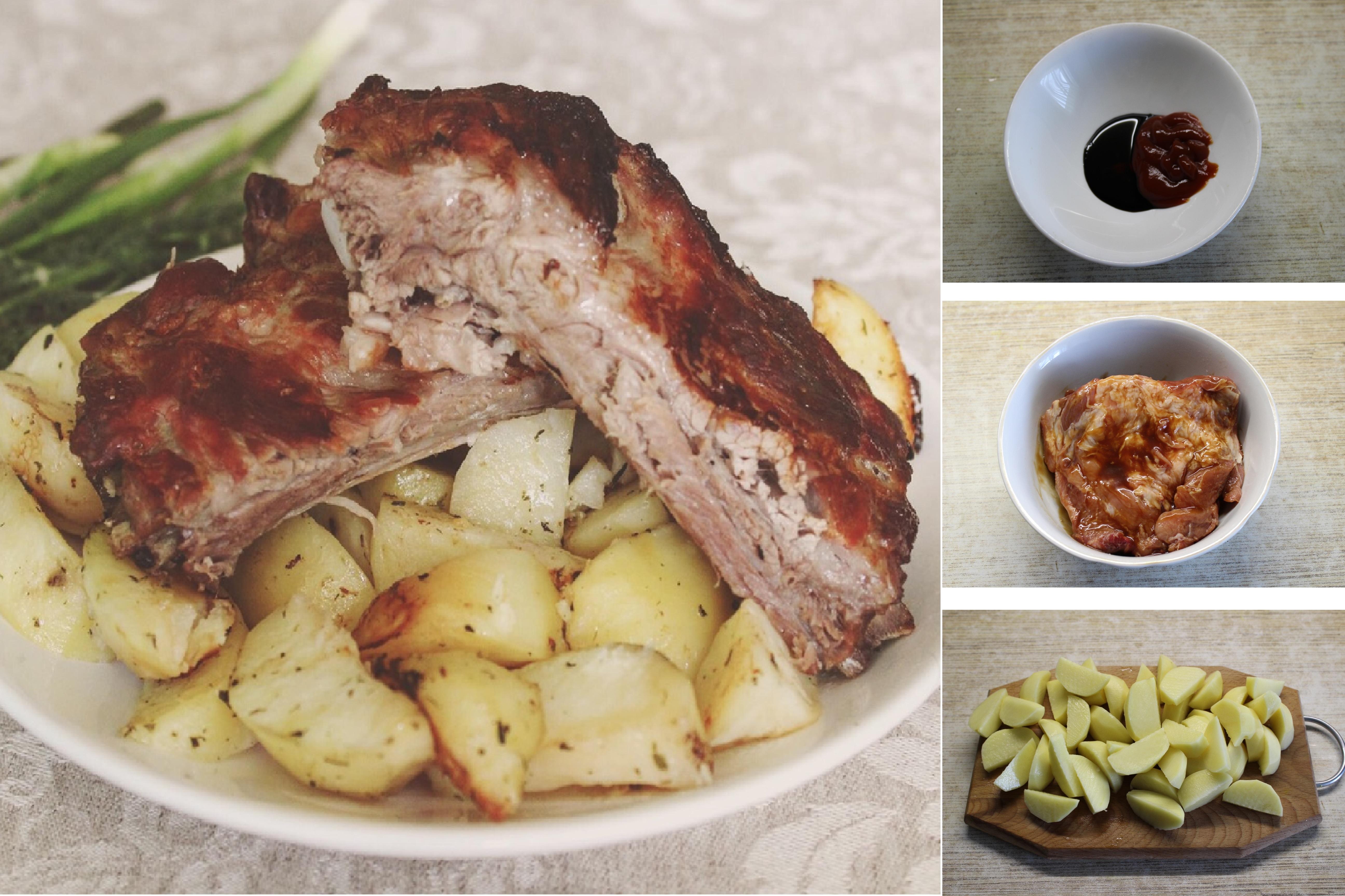 Пошаговый фото-рецепт: Свиные ребрышки, запеченные с картошкой