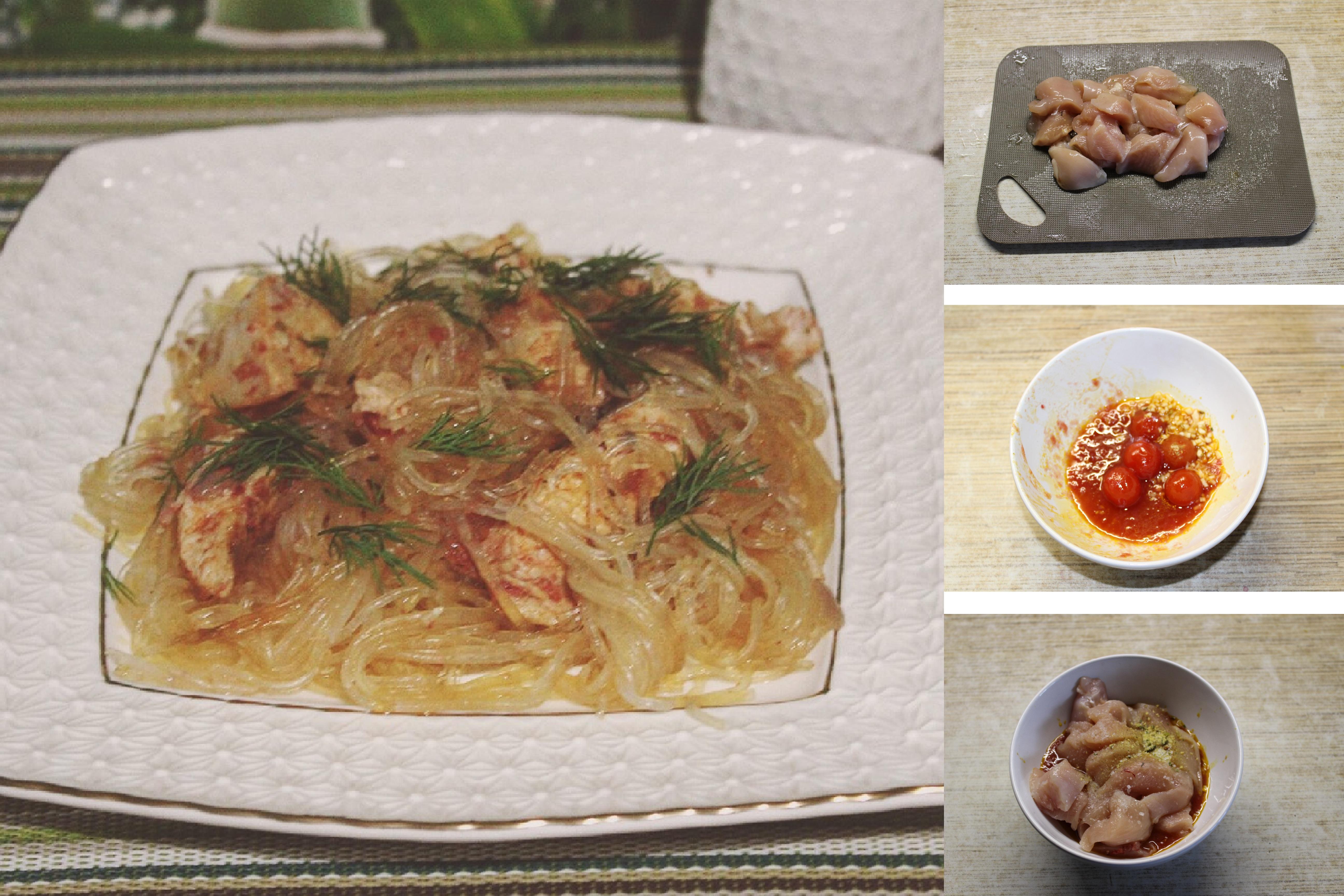 Куриное филе в овощном соусе с фунчозой: пошаговый фото рецепт
