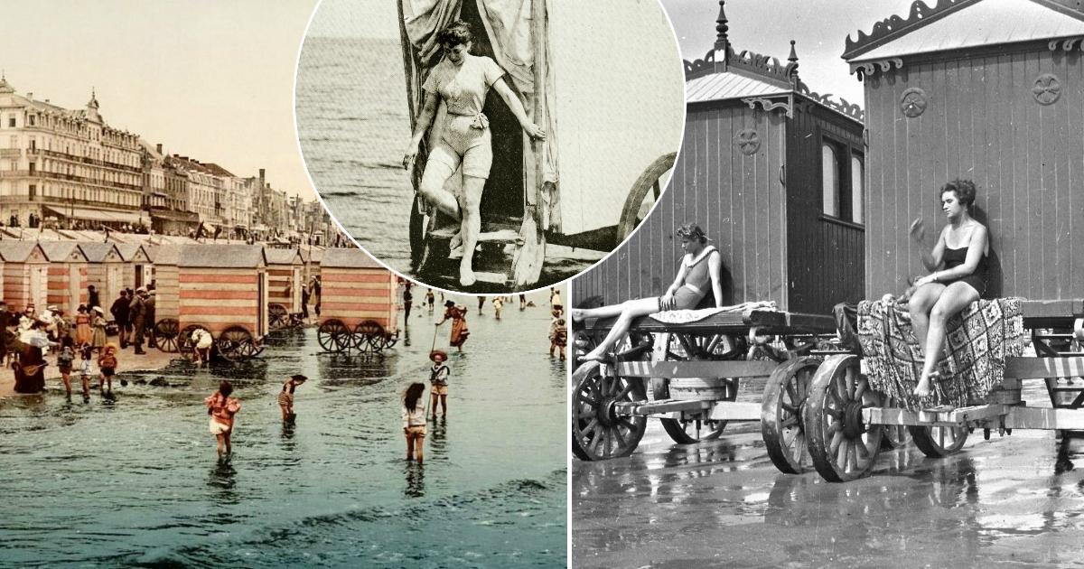 Фото Зачем в Викторианскую эпоху с собой на пляж брали купальные машины