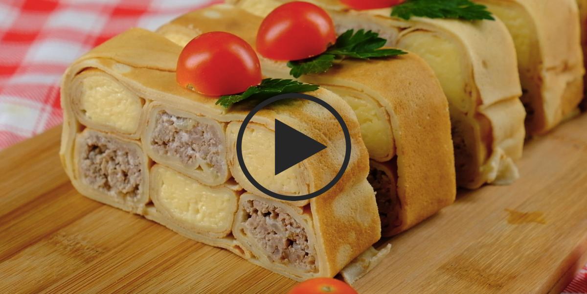 Видео-рецепт: Шахматный блинный пирог