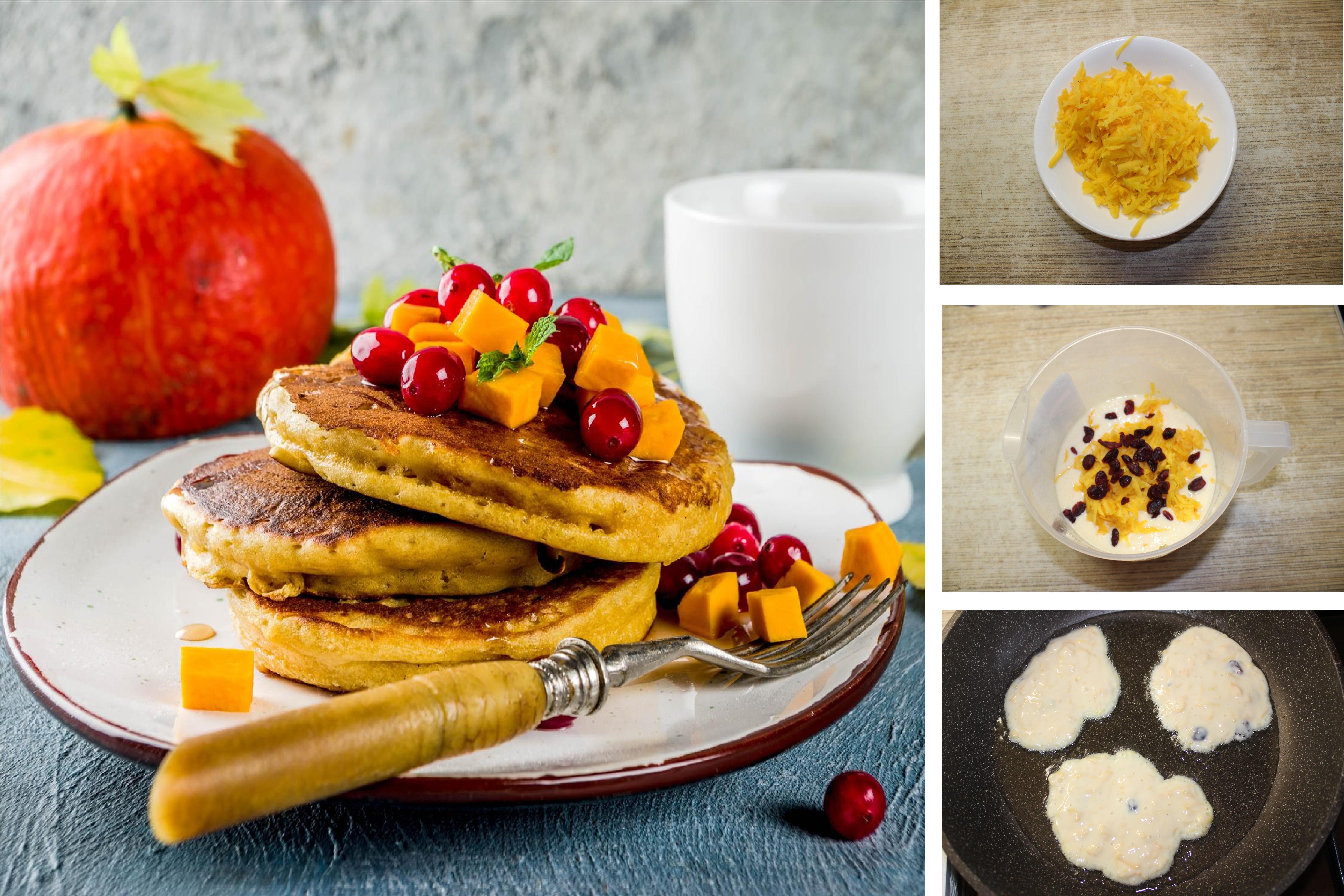 Нежные оладьи с тыквой и вяленой ягодой: пошаговый фото-рецепт