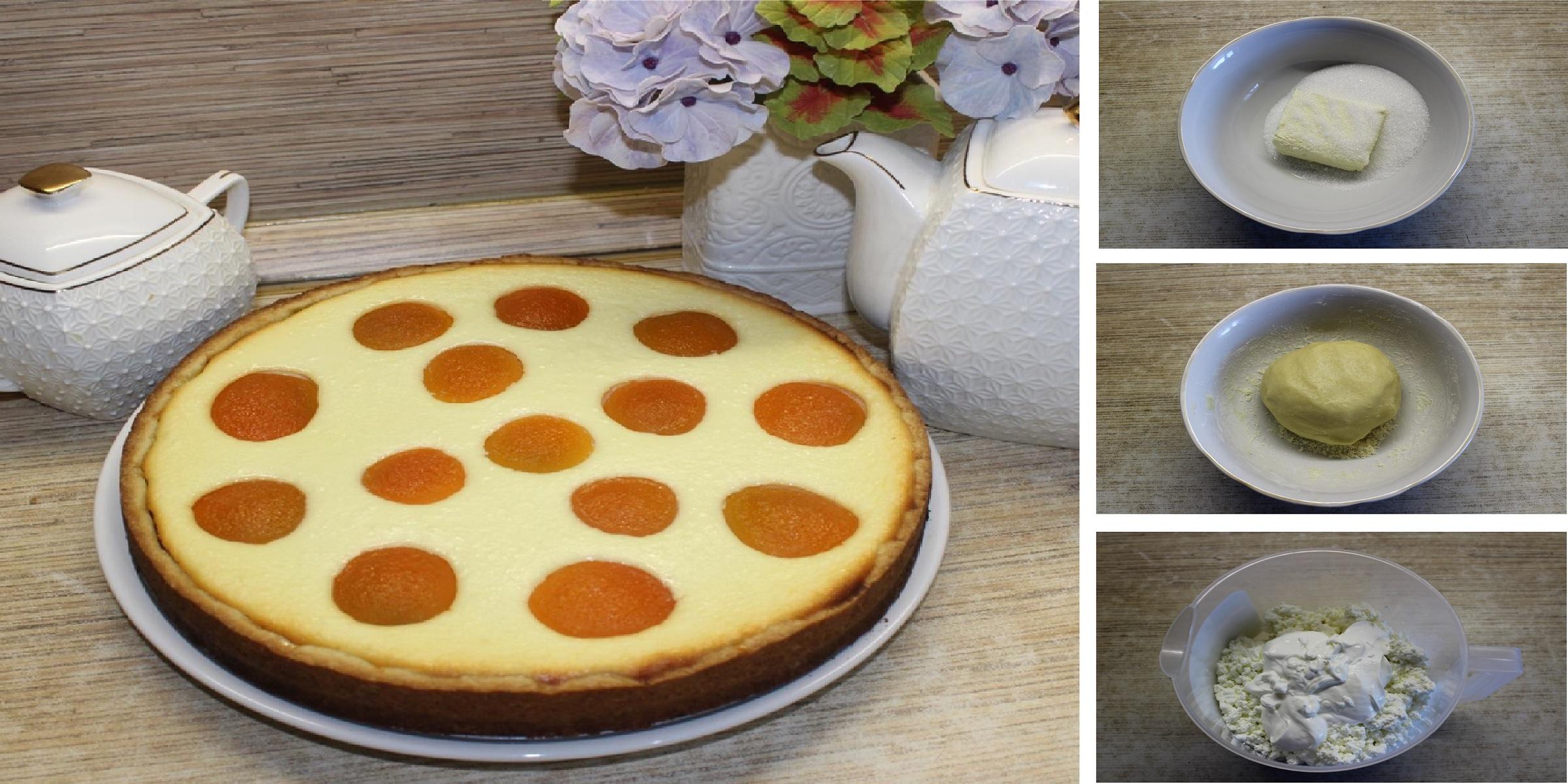 Открытый пирог с творожной начинкой и фруктами: пошаговый фото рецепт