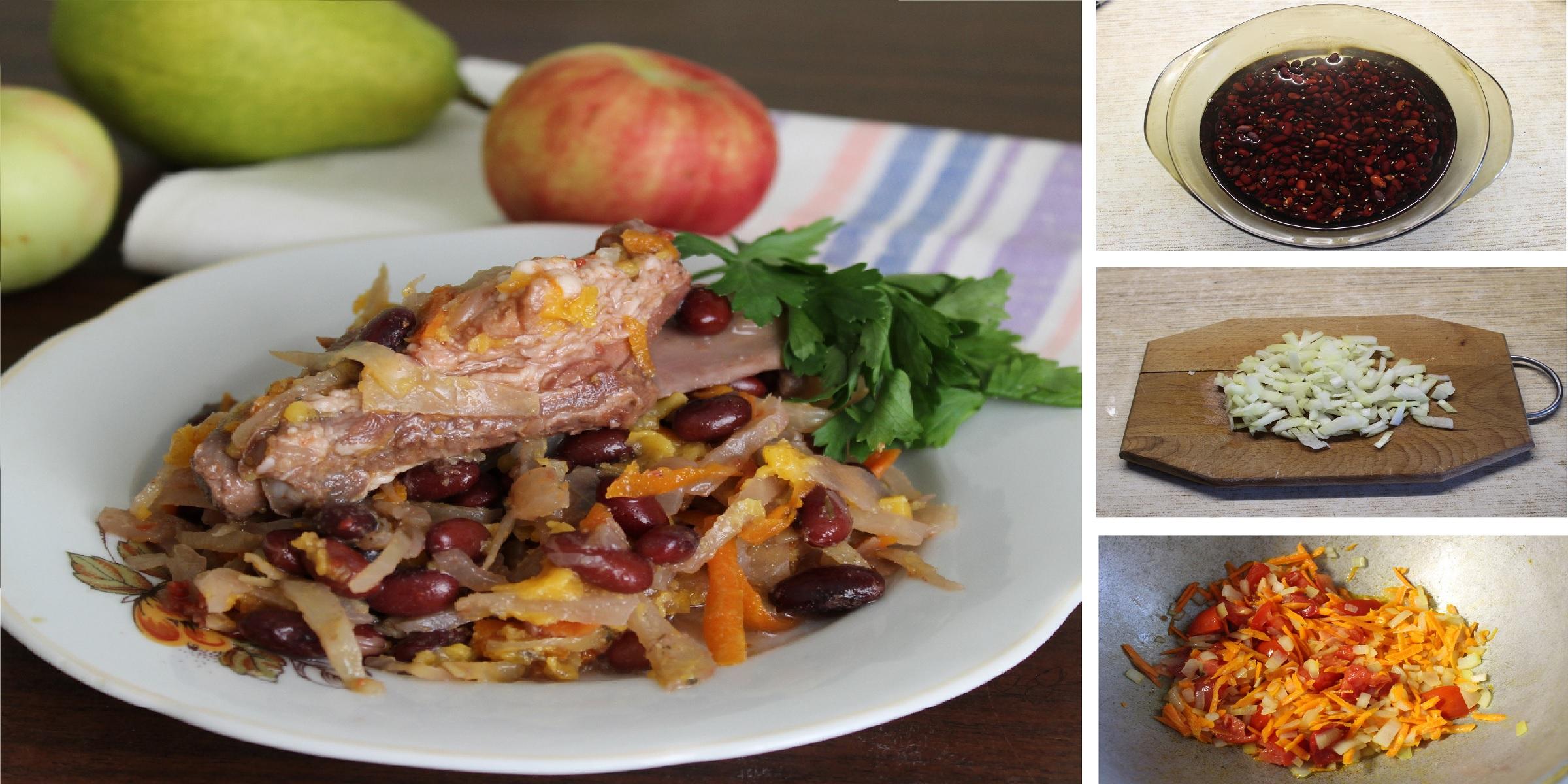 Ребрышки, тушенные с капустой и фасолью: пошаговый фото рецепт