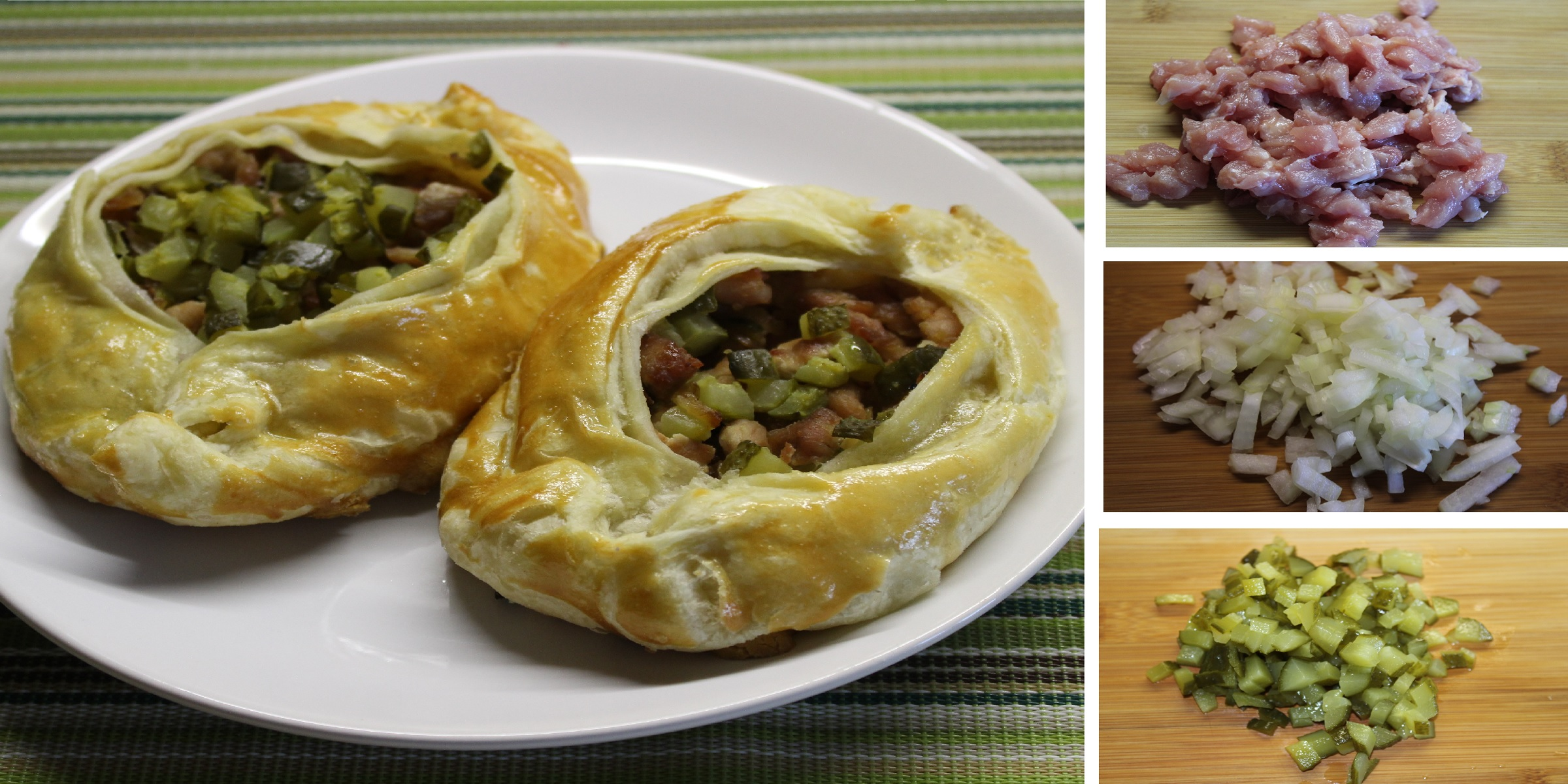 Лодочки из слоеного теста с мясной начинкой: пошаговый фото рецепт