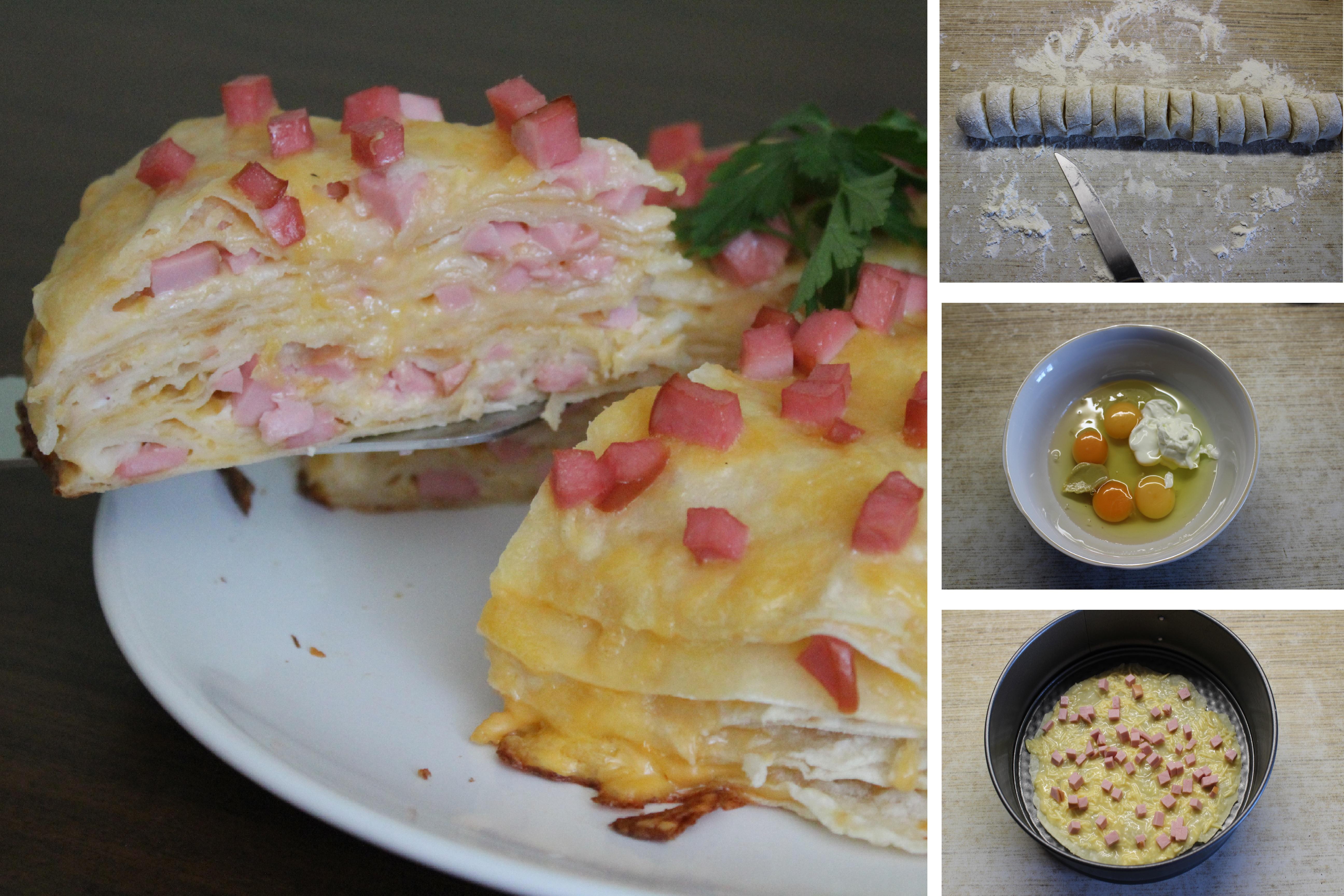 Роскошный закусочный пирог с ветчиной и сыром: пошаговый фото рецепт