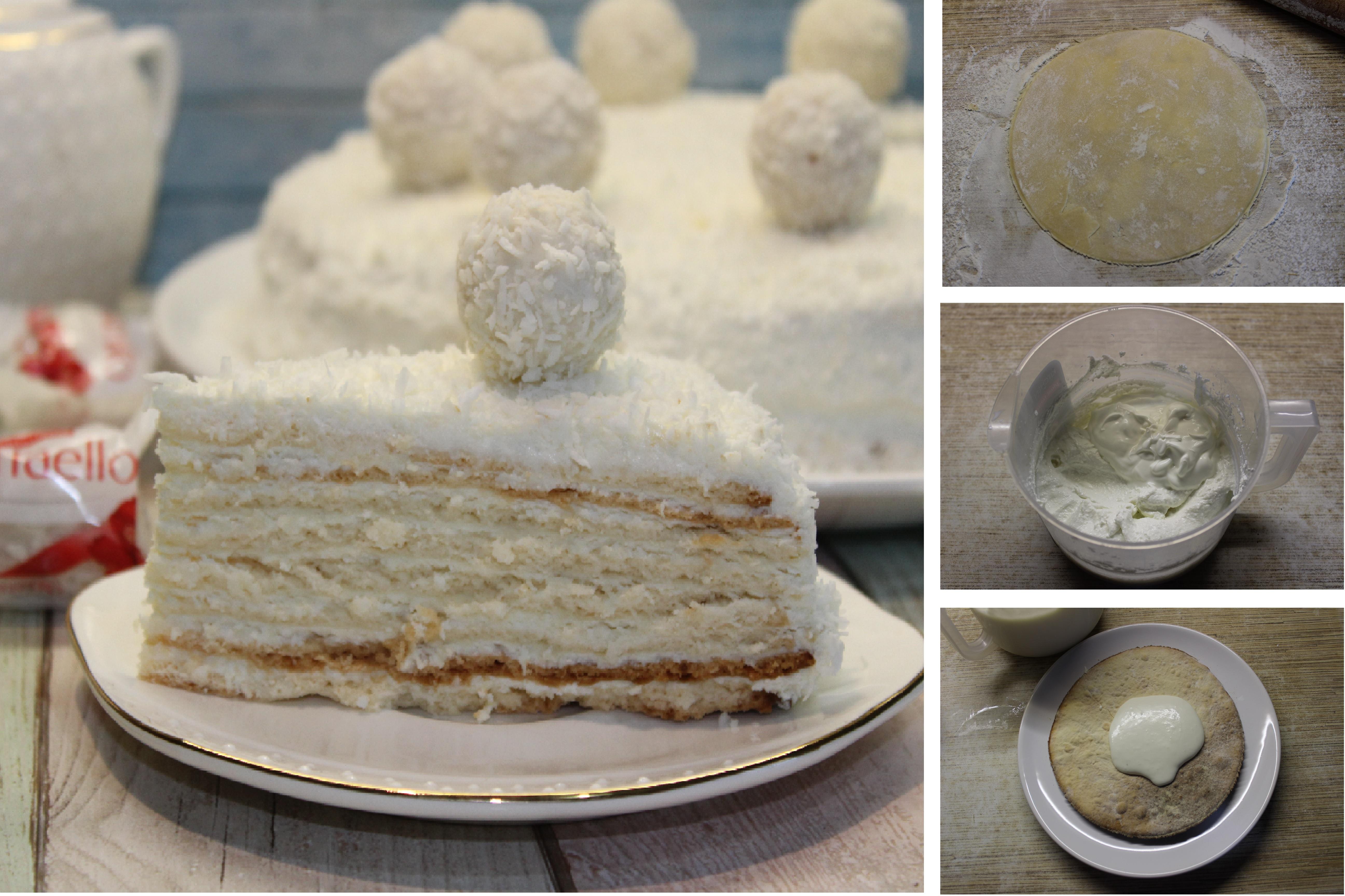 """Райский кокосовый торт """"Рафаэлло"""": пошаговый фото рецепт"""