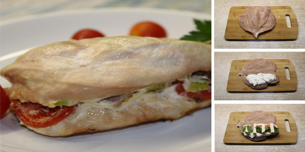 Фаршированная куриная грудка, запеченная с овощами в духовке: пошаговый фото рецепт