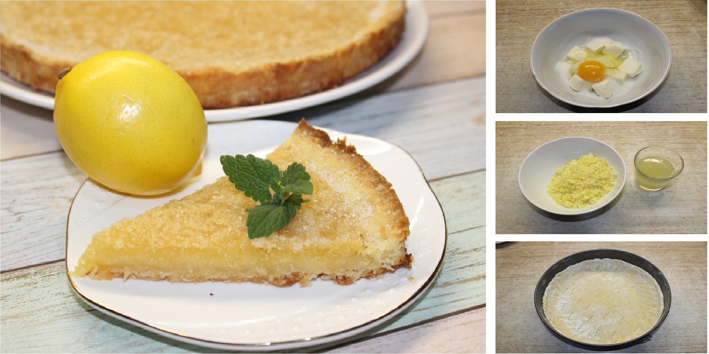 Открытый лимонный пирог на песочном тесте: пошаговый фото рецепт