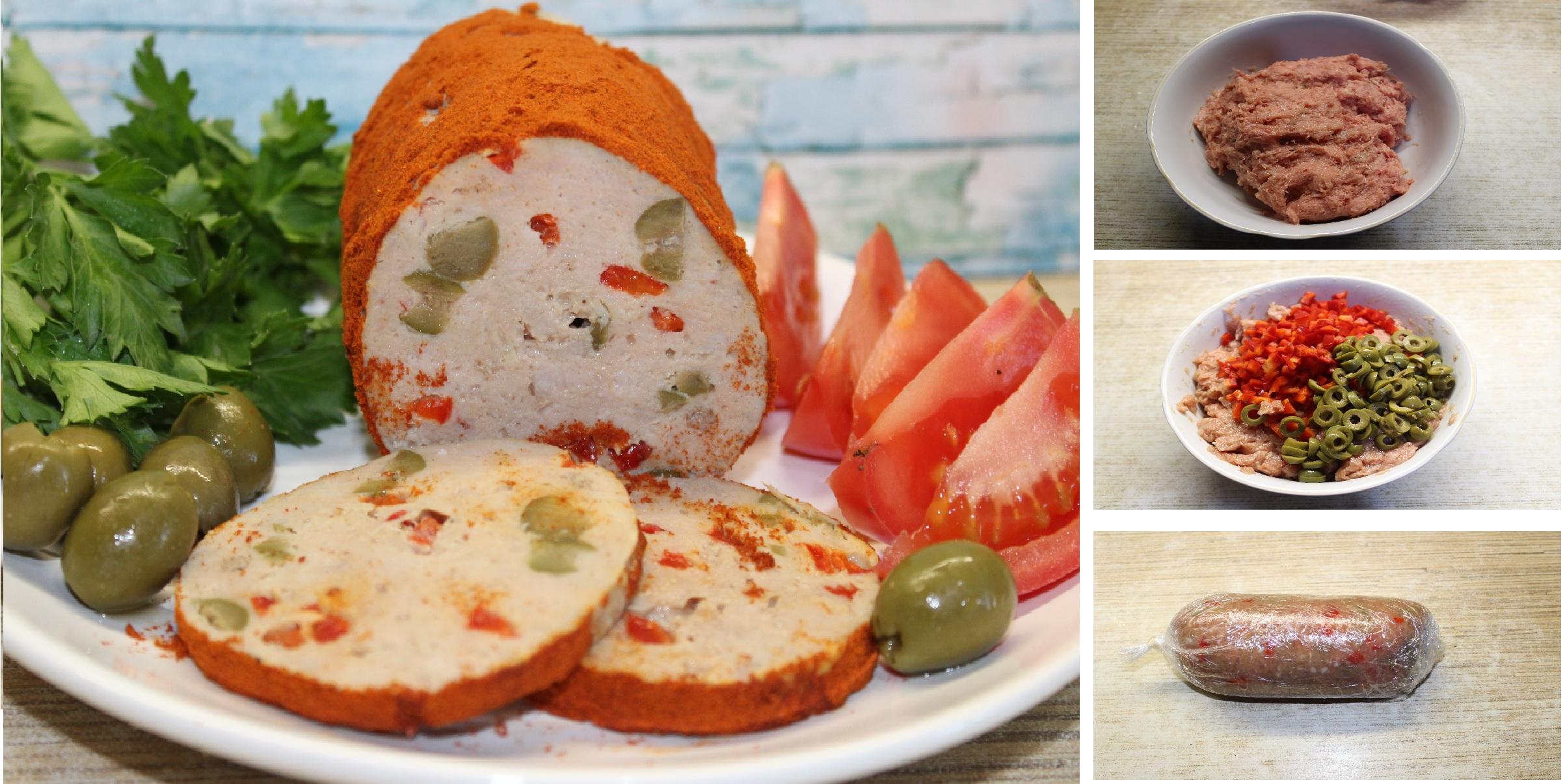 """Домашняя мясная колбаса """"а-ля Мортаделла"""": пошаговый фото рецепт"""