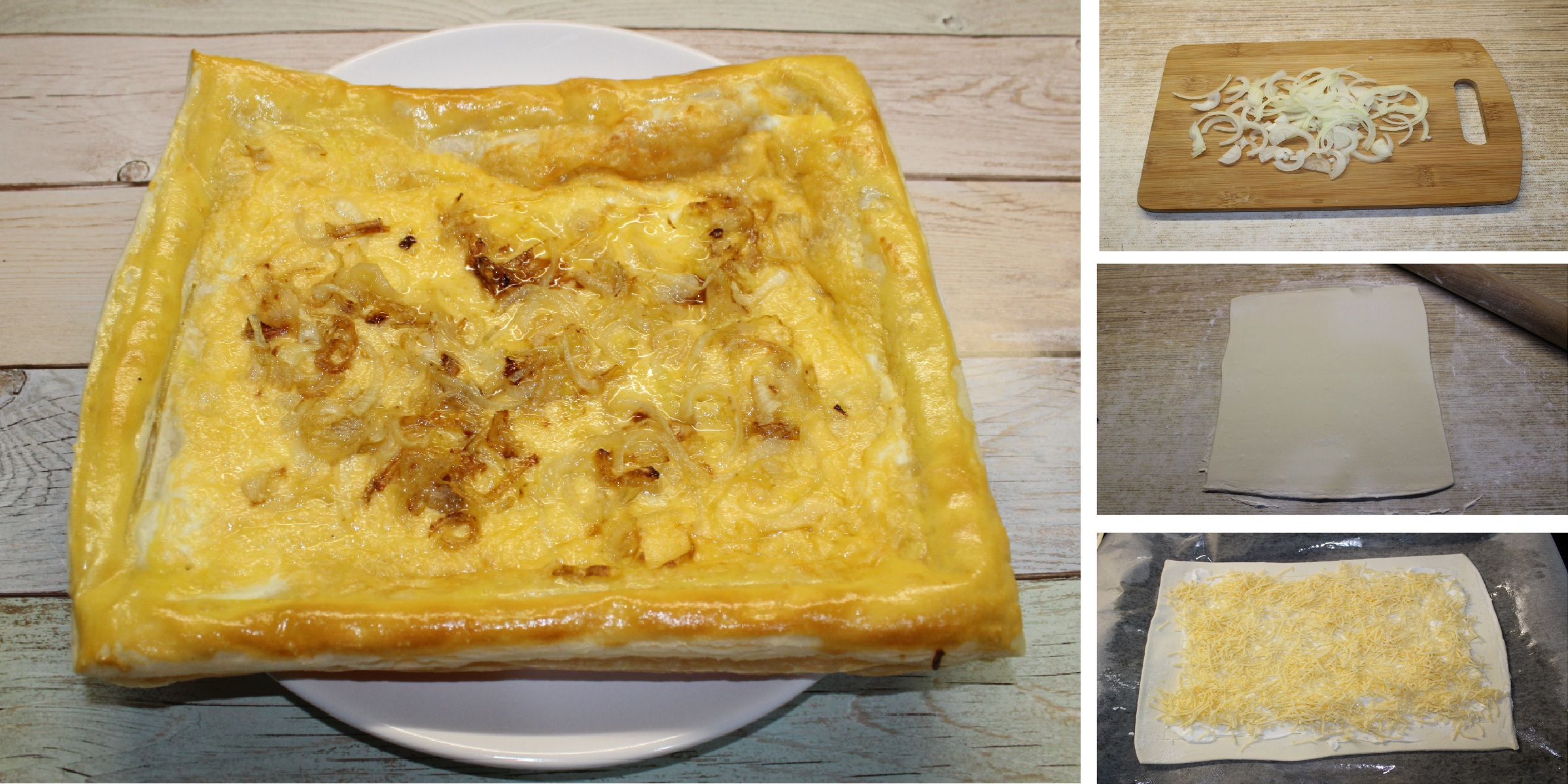 Сырный пирог с луком: пошаговый фото рецепт