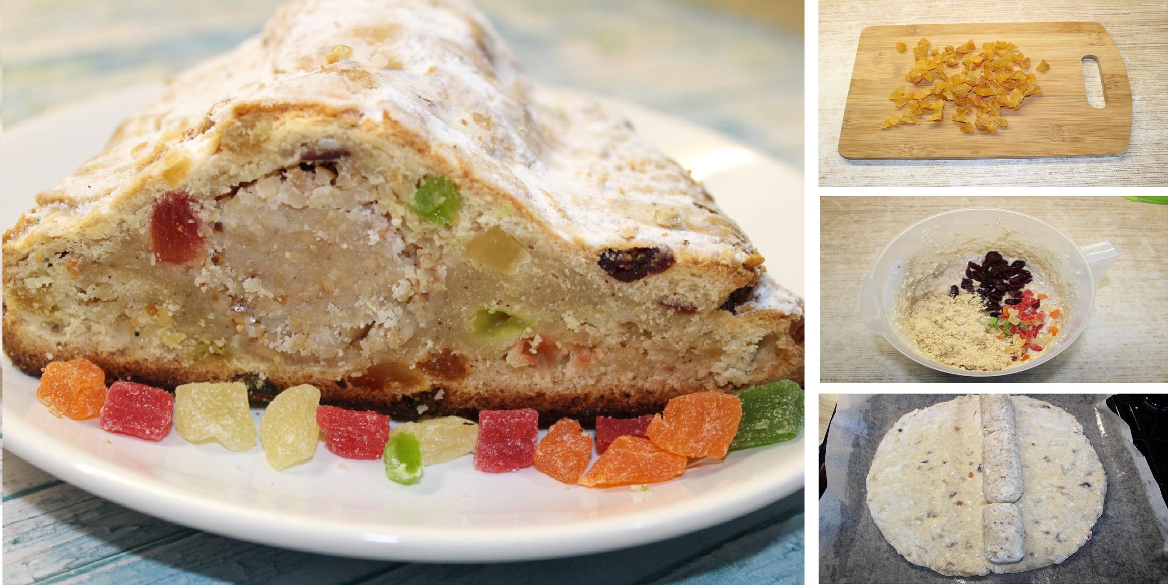 Домашний штоллен с марципаном и цукатами - главное угощение новогодних праздников: пошаговые фото