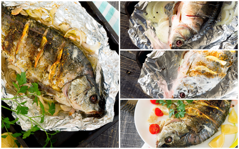 Карп с луком и лимоном, запечённый в сметане: пошаговые фото