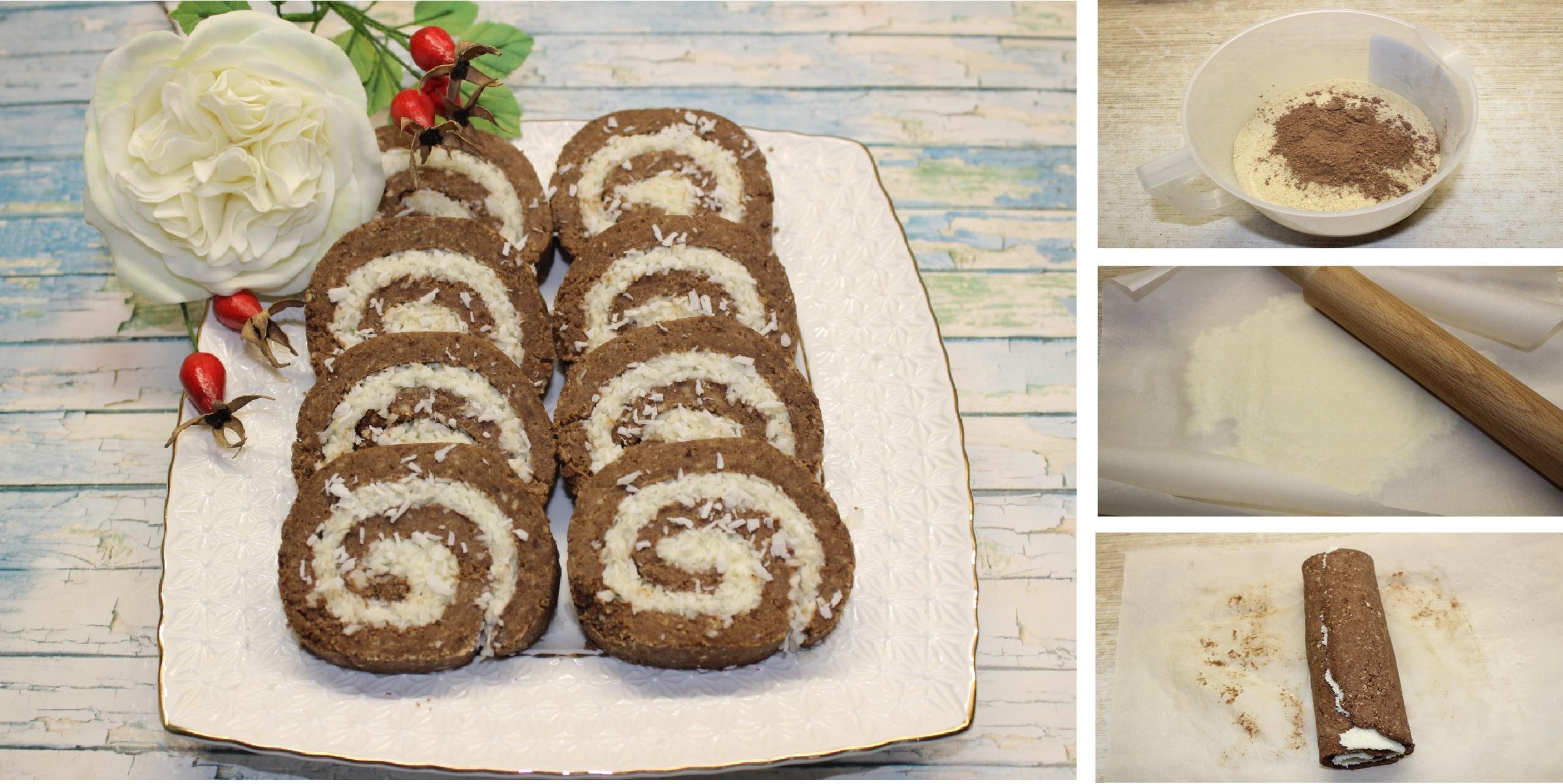 Шоколадно-кокосовый рулет без выпечки: пошаговый фото рецепт