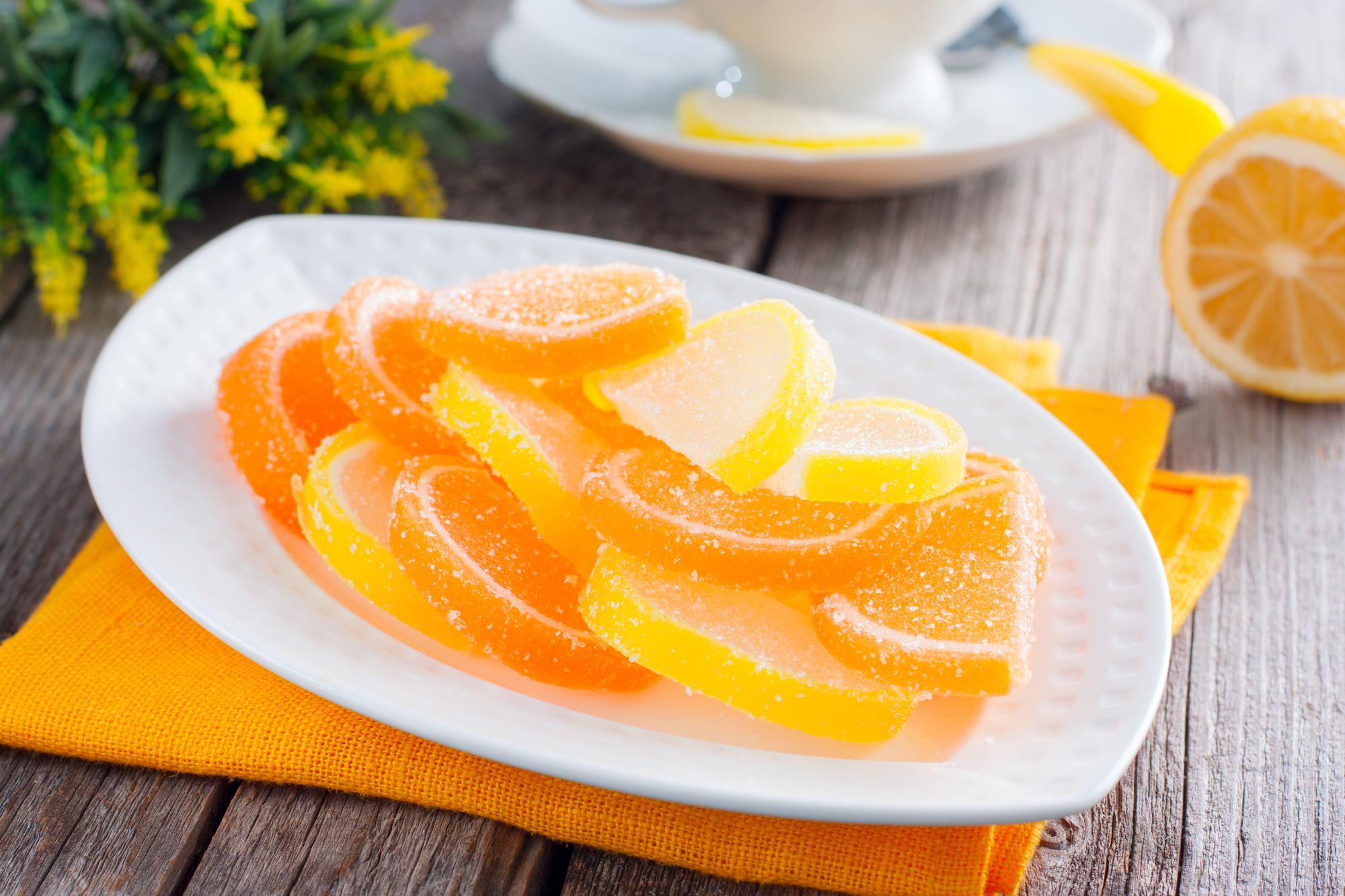 Апельсиновые и лимонные желейные дольки
