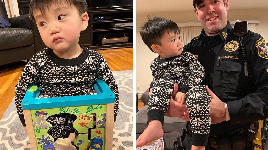Photo of Toddler rescued by police after getting stuck inside toy