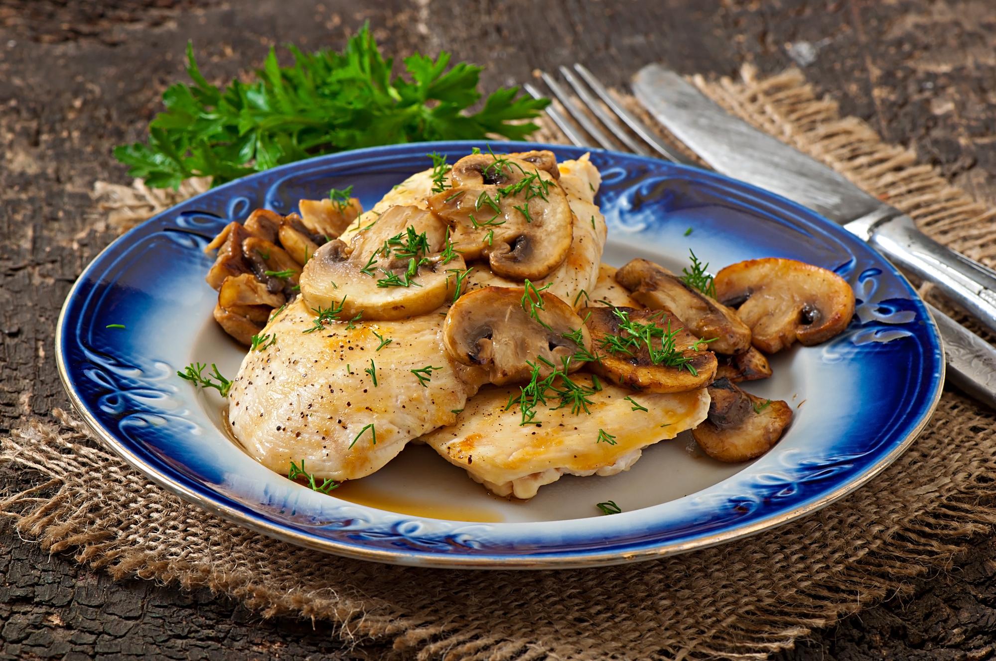 Запеченное куриное филе с грибами