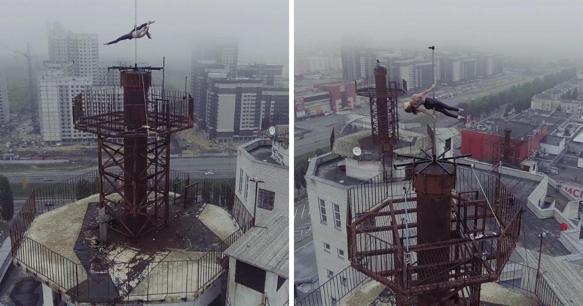 Фото На пилоне: девушка из Воронежа станцевала на верхушке многоэтажки