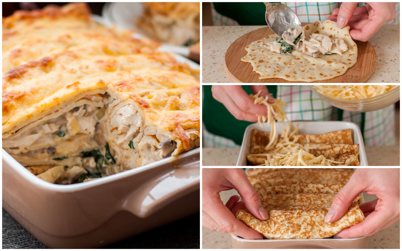 Запеканка из блинных роллов с курицей, шампиньонами и шпинатом: пошаговый фото рецепт