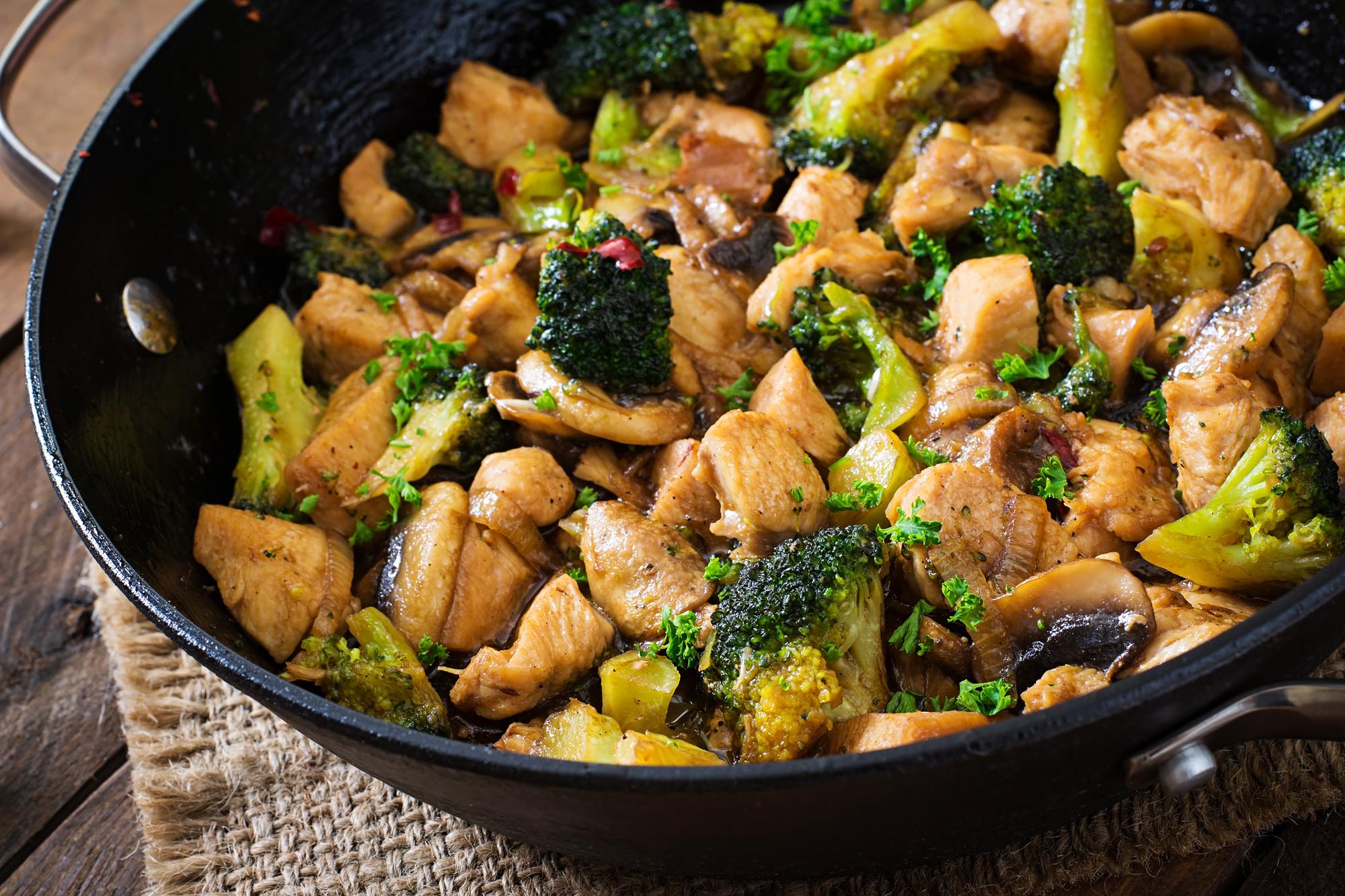 Курица с грибами и брокколи